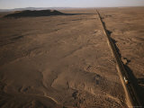 Aerial View of the Pan-American Highway Bisecting the Atacama Desert Photographic Print