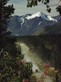 A Camper Rolls Down a Dirt Road Below High Mountains in Alaska Photographic Print by W. E. Garrett
