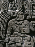A Detail of a Richly Carved Stone Pre-Columbian Relief Photographic Print by Raul Touzon