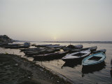 Tourist Pilgrimage Boats on Shore at Dawn Photographic Print by Jason Edwards