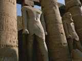 Towering Statues of Ramses Ii and Columns in the Luxor Temple Complex Photographic Print