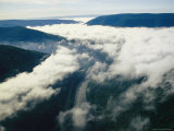 Aerial View of Fog and Clouds over Forests and the Youghiogheny River Photographic Print by Skip Brown