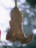 An Old Boot Decorates the Gate of an Alleyway in Chimayo Photographic Print by Stephen St. John