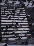 Birds-Eye View of a Busy Crosswalk on a Buenos Aires Street Photographic Print by Pablo Corral Vega
