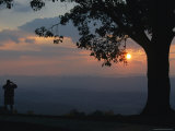 Sunset and Silhouetted Oak and Person over the Shenandoah Valley, Dickeys Ridge Visitors Center Photographic Print by Raymond Gehman