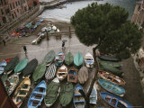 An Elevated View of Boats Stored on a Plaza During a Rain Shower Photographic Print by Michael S. Lewis