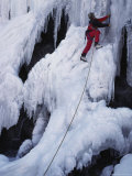 An Ice Climber on Habeggers Falls in the Sierra Nevada Mountains Photographic Print by Gordon Wiltsie