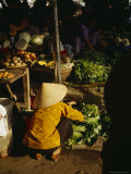 Vegtable Sellers at a Wet Market in Hoi An Photographic Print