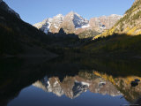 The Majestic Maroon Bells are Reflected in Maroon Lake Photographic Print by Charles Kogod