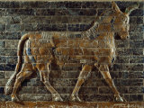 A Glazed Relief Depicting a Bull from the Ishtar Gate in the Ancient City of Babylon in Iraq Photographic Print by Lynn Abercrombie
