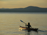 Woman Kayaking on Sebago Lake Photographic Print by Skip Brown