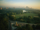 Aerial View of Chicagos Jackson Park and Golden Lady Sculpture Photographic Print by Melissa Farlow