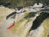 Kayaker Races Off the Top of the Great Falls in the Potomac River Photographic Print by Skip Brown