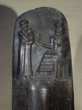 A Relief Sculpture Depicting Babylonian King Hammurabi Standing Before the Deity Shamash Photographic Print by Jr, Victor R. Boswell
