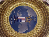 A Flag and State Emblem in the Dome of the Iowa State Capitol Photographic Print by Joel Sartore