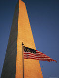The Flag of the United States Flying at the Washington Monument Photographic Print