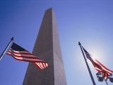 American Flags Fly on Each Side of the Monument Photographic Print by Stephen St. John