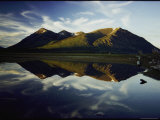 Mountains Reflected in the Still Water of Lake Bennett Photographic Print by George F. Mobley