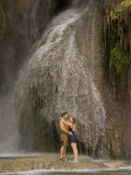 A Couple Hug Next to a Cool Waterfall in the Grand Canyon Photographic Print by Taylor S. Kennedy