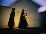 Ghostly-Looking Reenactors Take a Twilight Walk Photographic Print by Phil Schermeister