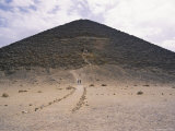 Visitors Climb Stairs Leading to a Mid-Level Entrance to the Ancient Limestone Red Pyramid Photographic Print