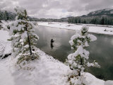 A fisherman tries his luck in the Yellowstone River Lámina fotográfica por Annie Griffiths Belt