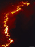 Flames Leap High as a Wildfire Spreads Along a Ridge Line Photographic Print by Melissa Farlow