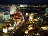 Aerial View of the Las Vegas Strip at Night Photographic Print by Maria Stenzel