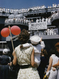 Family Members Welcome Home the U.S.S. Forrestal, an Aircraft Carrier Photographic Print by Robert Sisson