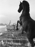 Looking Down on Sverdlov Square from Behind the Quadriga on the Front of the Great Academy Theatre Photographic Print by Maynard Owen Williams