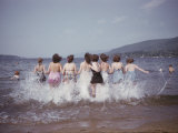 Women Splashing into Lake George Photographic Print by B. Anthony Stewart