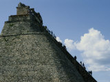Tourists Scale the Steep Steps of the Pyramid of the Magician Photographic Print by Kenneth Garrett