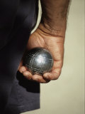 Bocce Bowler Holding a Ball Fotografisk tryk af Nicole Duplaix
