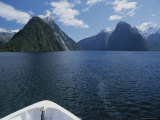 Bow of Tour Boat on Milford Sound with Mitre Peak in Background Photographic Print by Todd Gipstein