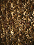 Ornate Flame-Like Carving Surrounds Buddha on a Relief Sculpture Photographic Print by Jodi Cobb