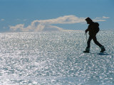 A Hiker Traverses Bare Glacial Ice Near the Patriot Hills Photographic Print by Gordon Wiltsie