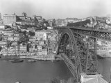 A Portion of Porto and its Large Two-Tiered Bridge Across the Douro River Photographic Print