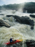 Kayaker Running Maryland Side of Great Falls on the Potomac River Photographic Print by Skip Brown