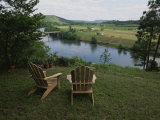 Two Adirondack Chairs on a Scenic Overlook Photographic Print by Randy Olson