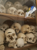 Human Skulls Fill a Display Case at Nea Moni Monastery Photographic Print by Tino Soriano