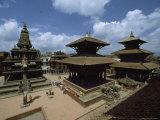 Durbar Square Showing the Statue of Garuda, Kathmandu Valley, Nepal Photographic Print by James P. Blair