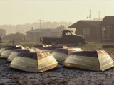 Rows of Upturned Wooden Rowboats on Chincoteague Island Fotografie-Druck von Medford Taylor