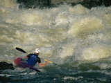 Kayaker Peels out into Big Whitewater Near Great Falls, Potomac River Photographic Print by Skip Brown