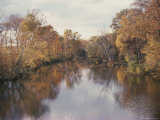 Looking up River at Banks Covered with the Colors of Fall Foliage Photographic Print
