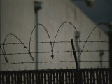 Barbed Wire and Chain Link Fence in East Los Angeles Photographic Print by Stephen St. John