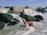 Kayaker in Rapids at Great Falls on the Potomac River Photographic Print by Skip Brown