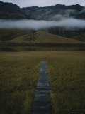 A Wooden Pathway Leads to an Almost Ghostly Line of Fog Above a Lake Photographic Print