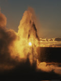 Old Faithful Geyser at Twilight Photographic Print by Norbert Rosing