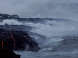 Surf Pounds a Lava Flow in Hawaii Photographic Print by Marc Moritsch
