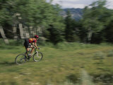 A Cyclist Takes off Down Clarks Fork Canyon Photographic Print by Bobby Model